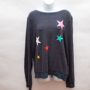 WILDFOX Star Scatter Knit Sweater Pullover  Size L